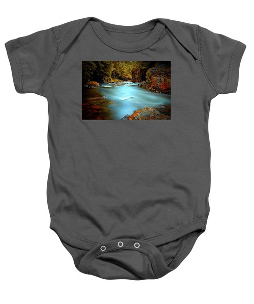 Blue Water And Rusty Rocks Baby Onesie