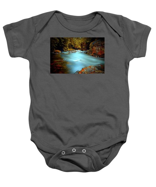 Blue Water And Rusty Rocks Signed Baby Onesie