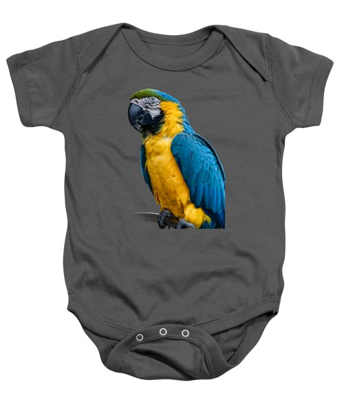 Blue Yellow Macaw No.1 Baby Onesie by Mark Myhaver