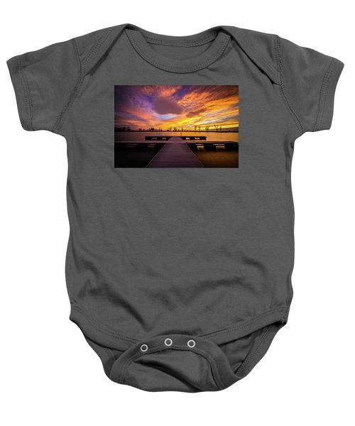 Boat Dock Sunset Baby Onesie