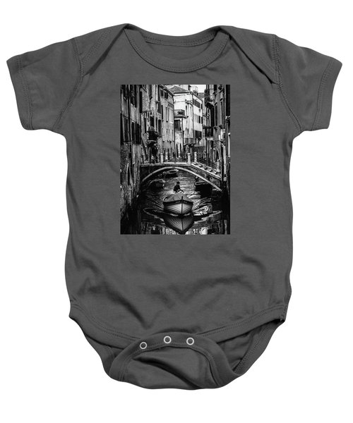 Boat On The River-bw Baby Onesie