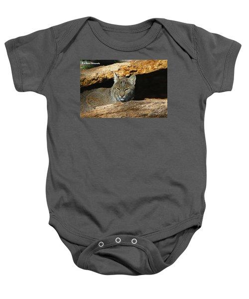 Bobcat Hiding In A Log Baby Onesie
