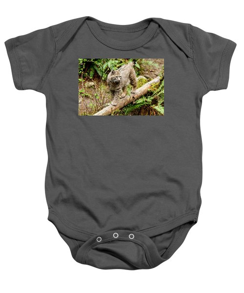 Bobcat In Forest Baby Onesie