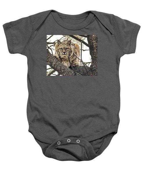 Bobcat In Winter Baby Onesie