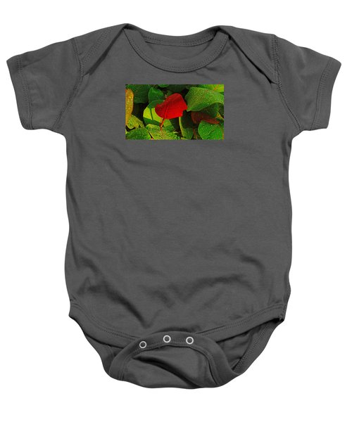 Bold Red Sea Grape Leaf Baby Onesie