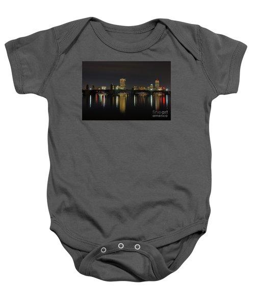 Boston Skyscrappers Behind Bridge Baby Onesie
