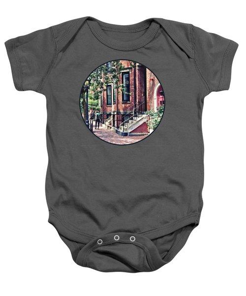Boston Ma - Walking The Dog On Mount Vernon Street Baby Onesie