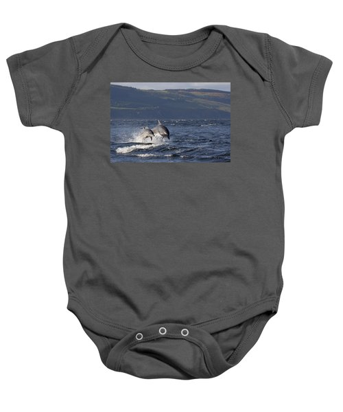 Bottlenose Dolphins Leaping - Scotland  #37 Baby Onesie