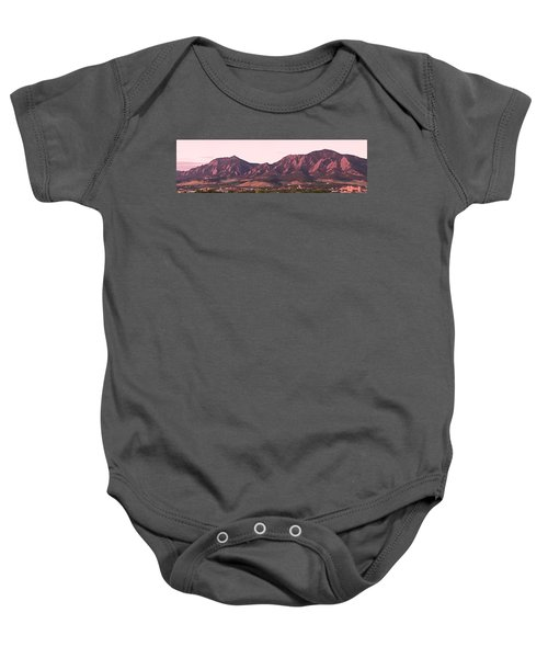 Boulder Colorado Flatirons 1st Light Panorama Baby Onesie
