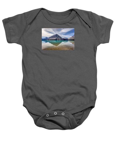 Bow Lake Reflection From Num-ti-jah Lodge  Baby Onesie