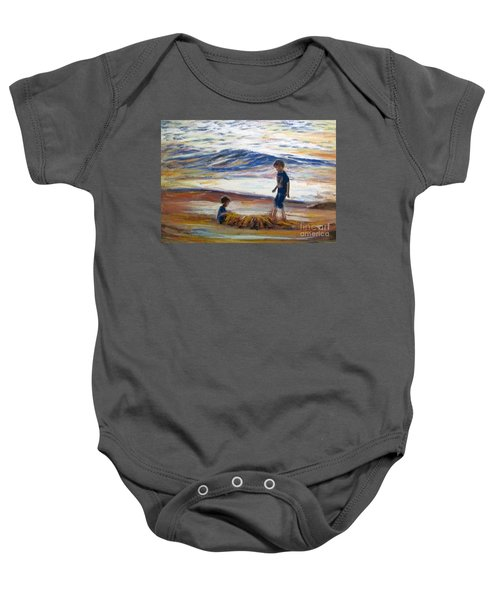 Boys Playing At The Beach Baby Onesie
