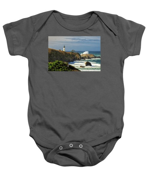 Breaking Waves At Yaquina Head Lighthouse Baby Onesie