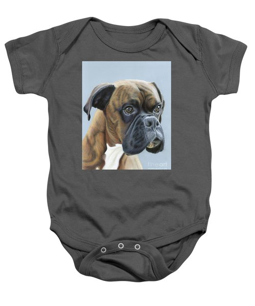 Baby Onesie featuring the painting Brindle Boxer Dog - Jack by Donna Mulley