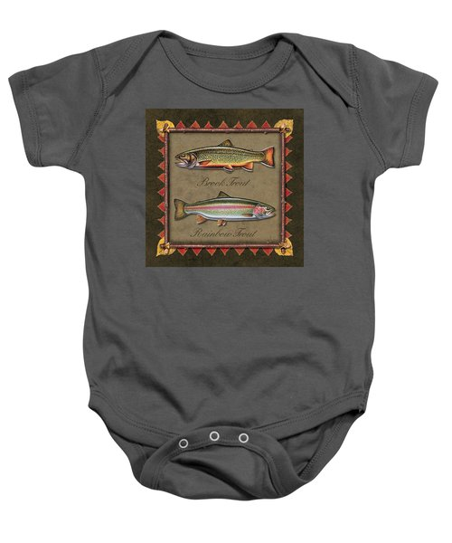Brook And Rainbow Trout Baby Onesie