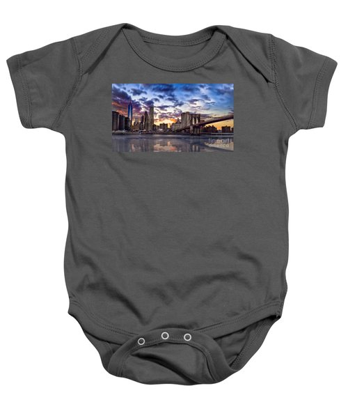 Brooklyn Bridge Manhattan Sunset Baby Onesie