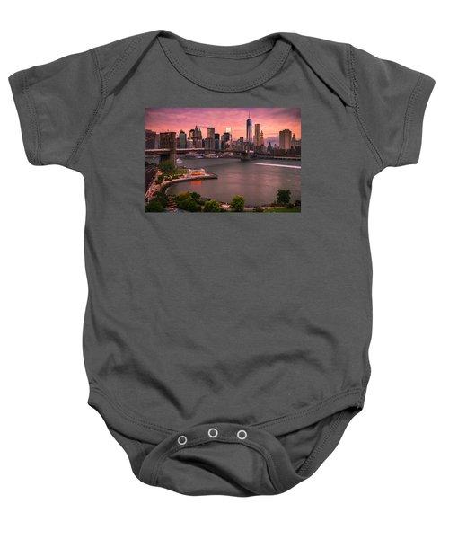 Brooklyn Bridge Over New York Skyline At Sunset Baby Onesie