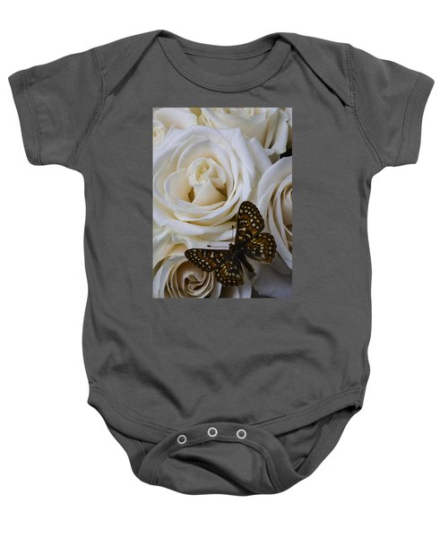 Brown Spotted Butterfly Baby Onesie