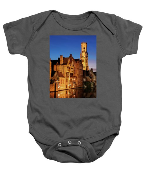 Bruges Belfry At Night Baby Onesie