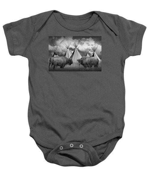 Buffalo Herd Among Teepees Of The Blackfoot Tribe Baby Onesie