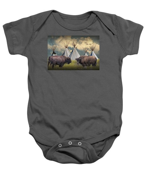Buffalo Herd On The Reservation Baby Onesie