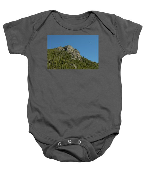 Baby Onesie featuring the photograph Buffalo Rock With Waxing Crescent Moon by James BO Insogna