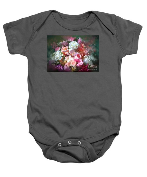 Baby Onesie featuring the painting Bunch Of Roses by Tithi Luadthong