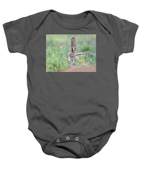 Burrowing Owl Spies Grasshopper Baby Onesie