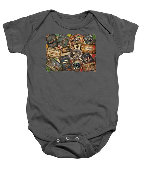 Cabin Sign Collage Baby Onesie