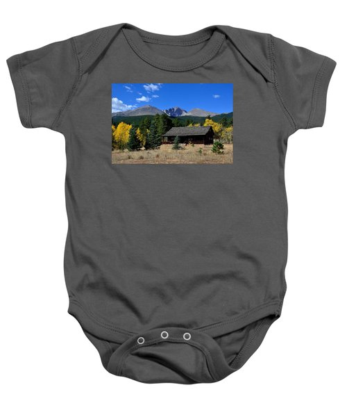 Cabin With A View Of Long's Peak Baby Onesie