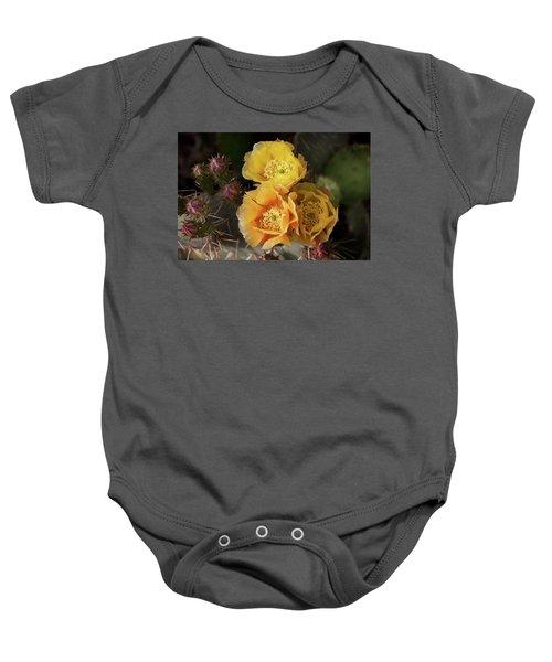 Yellow Cactus Flowers Baby Onesie