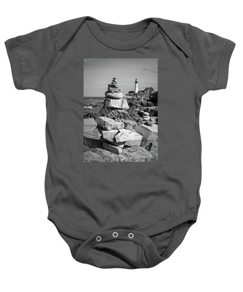 Cairn And Lighthouse  -56052-bw Baby Onesie
