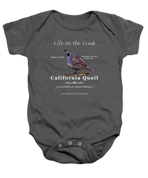 California Quail - Color Bird - White Text Baby Onesie