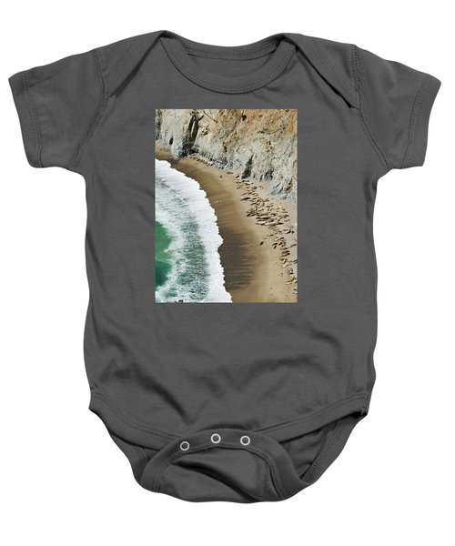 Baby Onesie featuring the photograph California Sea Lions by Renee Hong