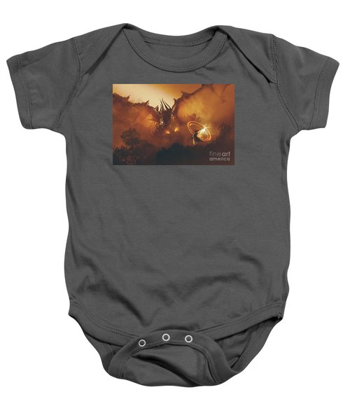 Baby Onesie featuring the painting Calling Of The Dragon by Tithi Luadthong