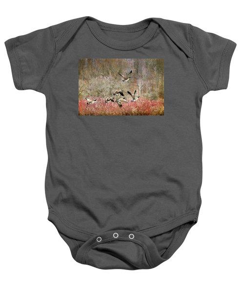 Canada Geese In Flight Baby Onesie