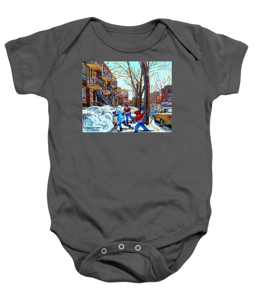 Canadian Art Street Hockey Game Verdun Montreal Memories Winter City Scene Paintings Carole Spandau Baby Onesie