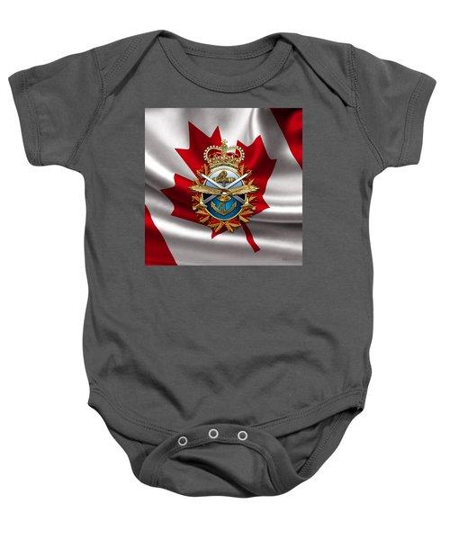Canadian Forces Emblem Over Flag Baby Onesie