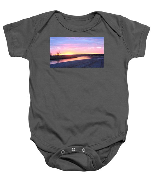 Canadian River Sunset Baby Onesie