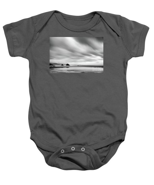 Cannon Beach Long Exposure Sunrise In Black And White Baby Onesie