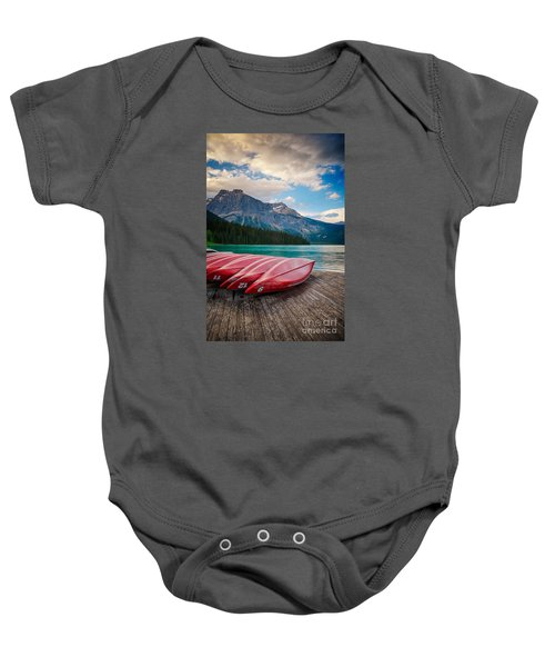 Canoes At Emerald Lake In Yoho National Park Baby Onesie