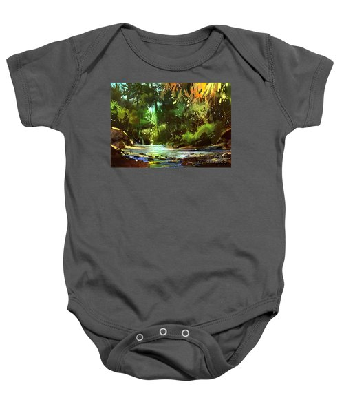 Baby Onesie featuring the painting Cascades In Forest by Tithi Luadthong