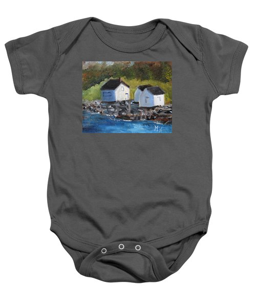 Casco Bay Boat Houses Baby Onesie
