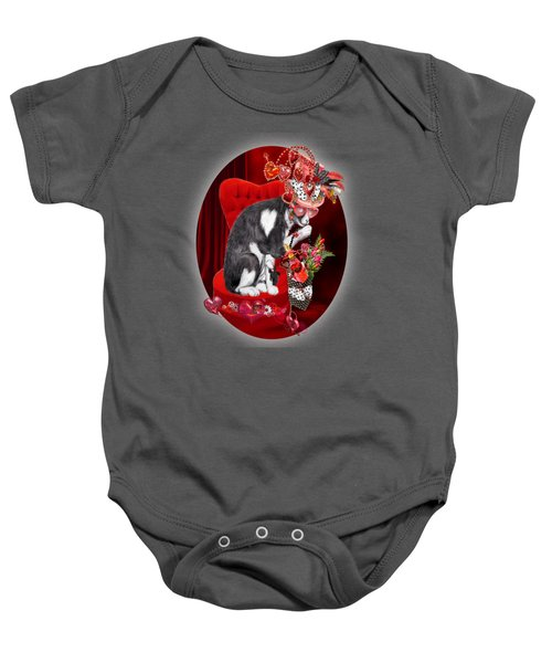 Cat In The Valentine Steam Punk Hat Baby Onesie