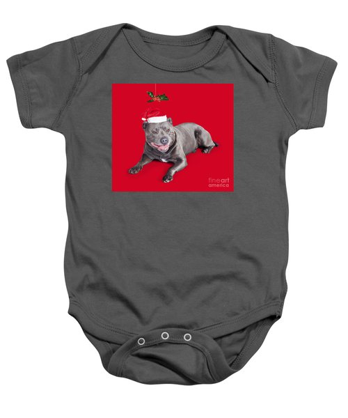 Celebrating Christmas With A Blue Staffie Dog Baby Onesie