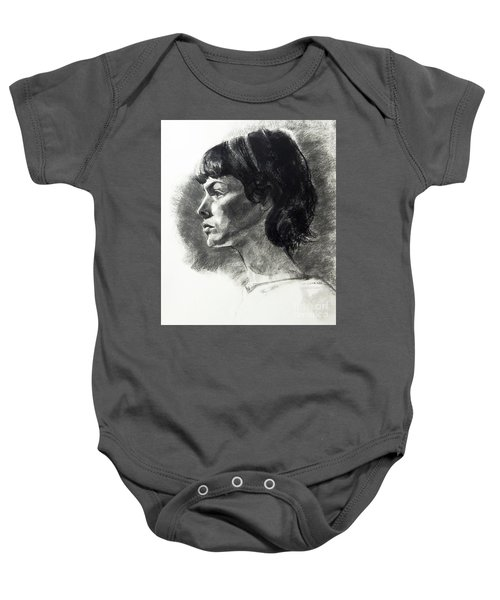 Charcoal Portrait Of A Pensive Young Woman In Profile Baby Onesie