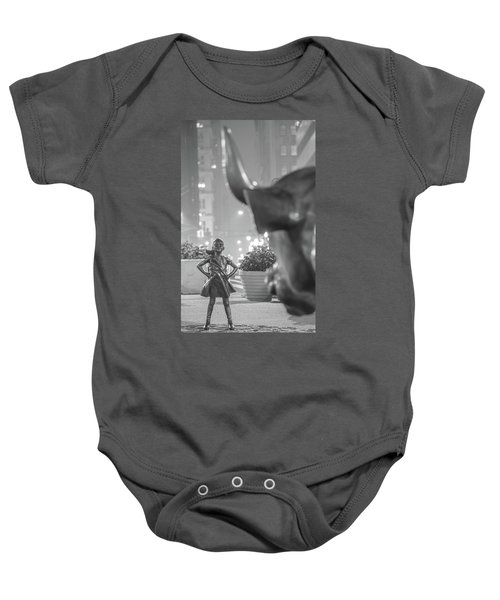 Charging Bull And Fearless Girl Nyc  Baby Onesie