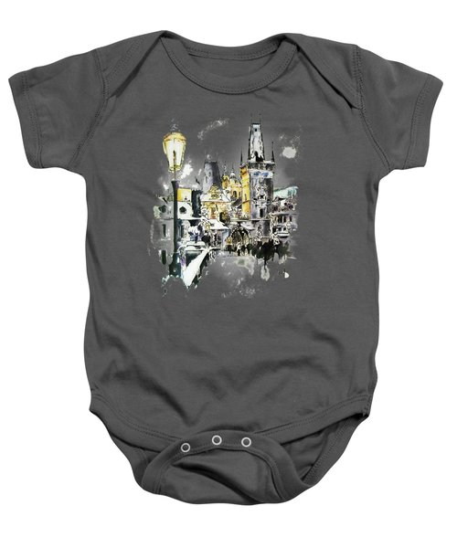 Charles Bridge In Winter Baby Onesie by Melanie D