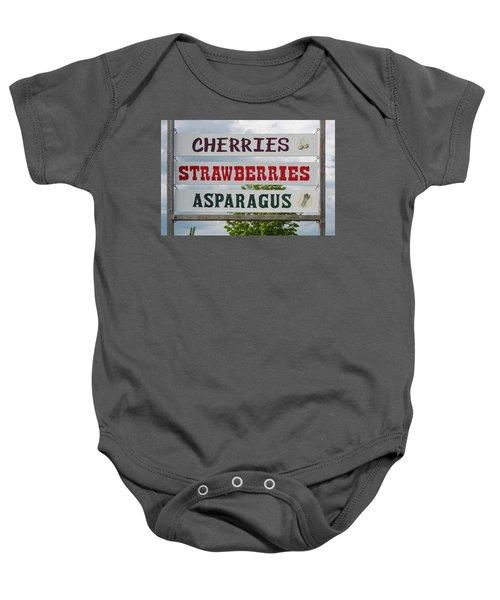 Cherries Strawberries Asparagus Roadside Sign Baby Onesie