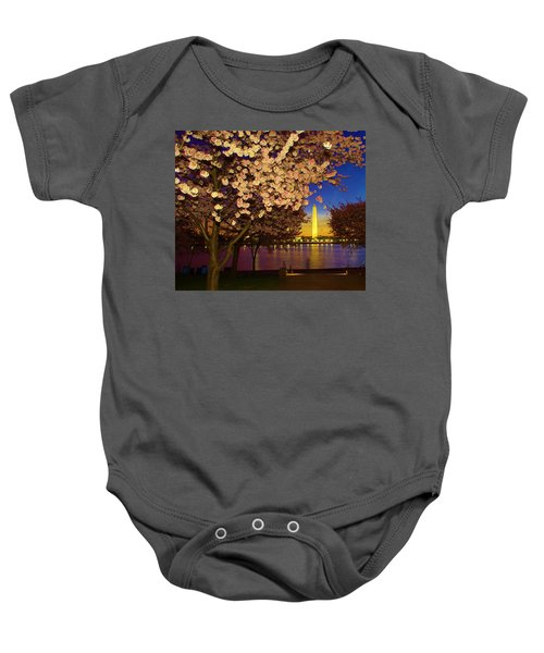 Cherry Blossom Washington Monument Baby Onesie