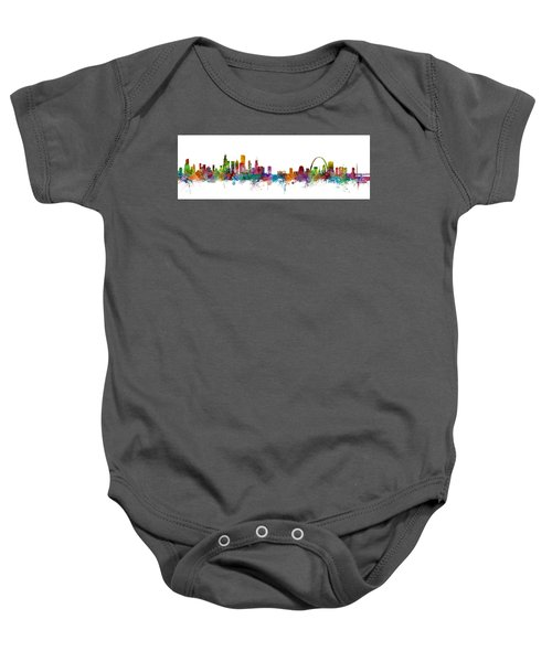 Chicago And St Louis Skyline Mashup Baby Onesie by Michael Tompsett